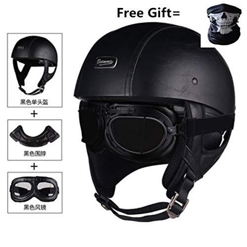 OLEEKA Visiera per casco moto in pelle PU con visiera mezza aperta Visiera con collare Moto vintage in pelle per moto Vespa