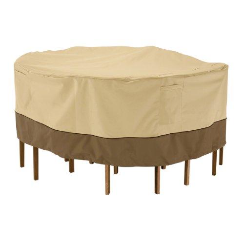 Runde Tisch Deck (Classic Accessories Veranda Haltbare Möbelabdeckung für runde Garten-Essgruppe - L)