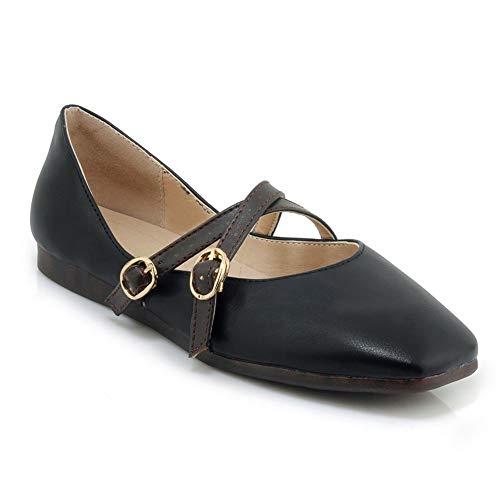 AdeeSu SDC06806 Chaussures Plates Couleur Unie Orteil Souple Boucle Femmes Noir - 34.5 EU (Étiquette:34)