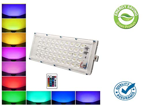 FEMINGO RGB Waterproof LED Flood Light Multi Color with Remote Landscape IP66 (50 Watt)