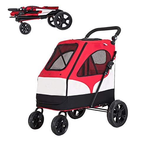 DFLY Leichter Reise Hundewagen Hundebuggy, 4-Rad Faltbare Kinderwagen Buggy Bis 55 Kg, Mit Aufbewahrungstasche, 360 ° Drehbares Vorderrad, Einstellbare Armlehnenhöhe