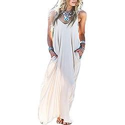 Yacun Mujeres Hippie Boho Vestidos Correa Profundo Cuello En V Loose Long Dress White M