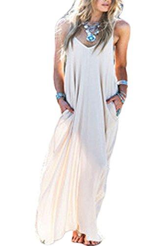 Hippie Boho Maxi (YACUN Damen Hippie Boho Tiefe V Nacken Locker Lange Maxi Kleid White S)