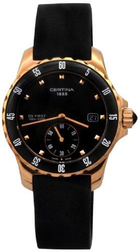 Certina DS First C014.235.37.051.00 - Reloj analógico de cuarzo para mujer, correa de goma color negro