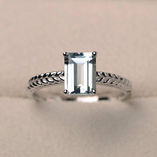 1,48ct Smaragd Verlobung Diamant Ring Diamant Aquamarin-Ring Edelstein 14K Weiß Gold Alle Größe M (Diamanten Lose Ring)