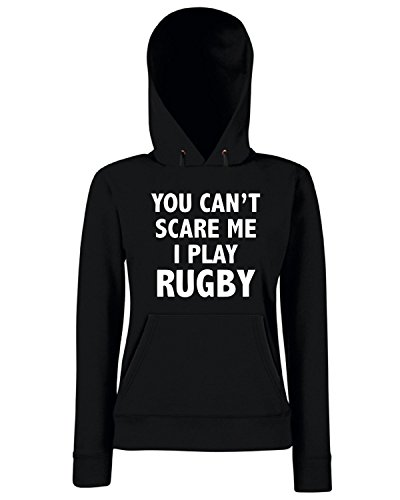 T-Shirtshock - Sweats a capuche Femme TRUG0152 you cant scare mei play rugby logo Noir