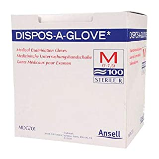 Ansell Dispos-A-Glove, Powder Free Examination Gloves, Medium, Box of 100