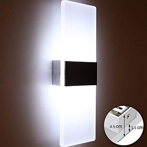 Glighone 12W LED Wandleuchte Innen Weiss Up and Down Wandlampe Innenleuchten Wand Innen Wandlampe für Treppenhaus Wohnzimmer Korridor Schlafzimmer, Kaltweiss -