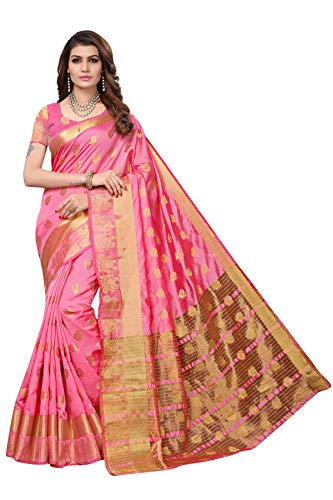 Fabwomen Zari Work Woven Kanjivaram Silk Saree With Blouse Piece.(S182053_Golden_Free Size)