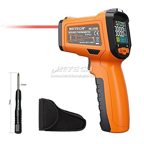 Nktech Nk-200b LCD Digital infrarouge IR Gun Thermomètre -50~ 550°C Température ambiante 12: 1à main sans contact testeur de température avec alarme Émissivité réglable et lampe de poche