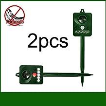 2 Uidades Repelente ultrasonico tipo energía solar, KENO ahuyentador para pájaros, gatos y perros, ratas