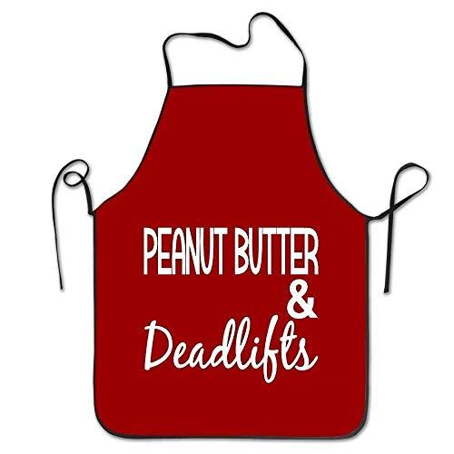 fgjhdfj Kitchen Apron-Peanut Butter and Deadlifts Protective Aporn Black -