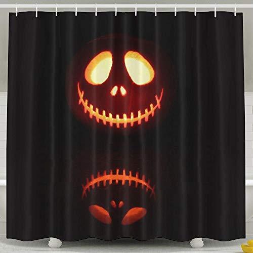 Sangeigt Duschvorhang Bath Curtain, Pumpkin Halloween Jack Skellington The Nightmare Before ristmas Movies Black Background Simple Background Non Toxic Bathroom ()