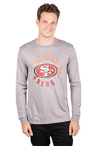 Icer Marken NFL Herren T-Shirt Athletic Quick Dry Long Sleeve Tee Shirt, Grau, Herren, JLM4687F, Grau meliert, Small