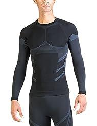 Xaed Camiseta Termica Interior Hombre, Camiseta Interior, Ski, Hombre, Negro/Azul claro, M