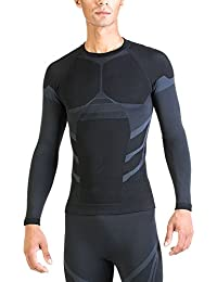 XAED - Camiseta compresiva de manga larga para hombre (grande, negro/gris claro)