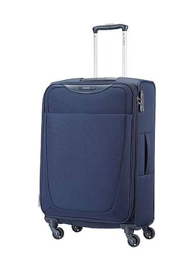Samsonite Base Hits Suitcase 4 Wheel Spinner 66cm Expandable Navy Blue