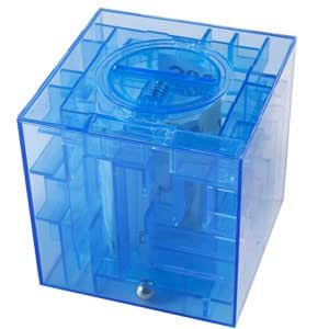 NEW MONEY MAZE COIN BOX JAR PUZZLE GIFT PRIZE SAVING BANK in Blue