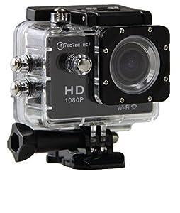 TecTecTec XPRO1 Caméra de Sport et Action Wi-Fi Haute Définition Full HD 1080p avec Caméscope HD Vidéo de 12 Mégapixels - Action cam avec grand angle 170 degrés - Commande à distance via Wi-Fi (Couleur Noire)