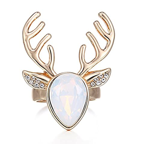 eManco Gold Statement Hirsch Geweih niedlichen Tiere Opal Kristall verstellbaren Ring für Frauen (Opal Modeschmuck)