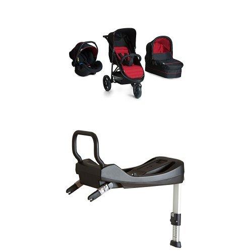 Hauck rapid 3 trio set carrozzina 3 in 1, nero rosso + comfort isofix base nera