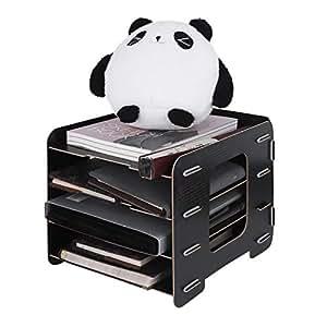 schreibtischorganizer holz briefablage dokumentenhalter mit 4 einlegeb den multifunktional. Black Bedroom Furniture Sets. Home Design Ideas
