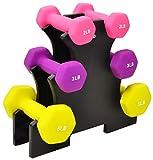 BalanceFrom GoFit Allzweckhanteln im Paar oder Set mit Ständer, BF-D358, gelb blau, 32 pounds