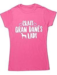 HippoWarehouse Crazy Gran Danés Lady camiseta manga corta ajustada para mujer