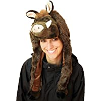 Cuffia a forma di testa di cinghiale, cappello, copricapo, ideale come regalo, morbidissimo, marrone, peluche, taglia unica