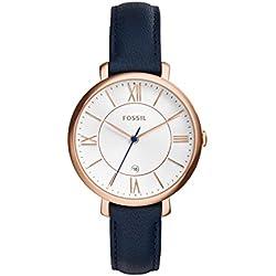 FOSSIL Montre Jacqueline femme - Montre-bracelet boyfriend classique avec bracelet en cuir - Boîte de rangement et pile incluses