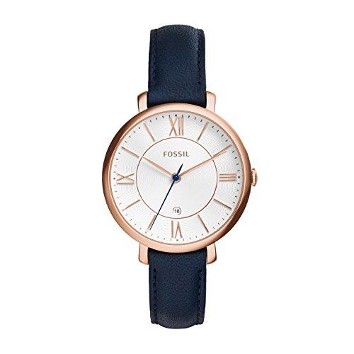 Fossil Jacqueline Leder Armbanduhr Damen blau / Mit Edelstahlgehäuse roségold, Quarz Uhrwerk & analoger Datumsanzeige - idealer Begleiter für jede Gelegenheit