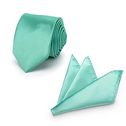 Rusty Bob - Krawatte mit Einstecktuch (in vielen Farben) - für die Verlobung, die Hochzeit - Schlips mit Taschentuch für das Sakko - 2er-Set - Mintgrün