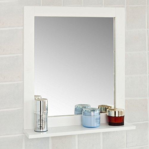 SoBuy FRG129-W Spiegel Wandspiegel Badspiegel mit Ablage Weiß (Mit Spiegel Rahmen)