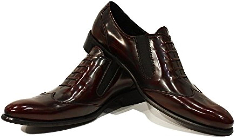 PeppeShoes Modello Ildefonso - Cuero Italiano Hecho A Mano Hombre Piel Borgoña Mocasines y Slip-Ons Loafers -...