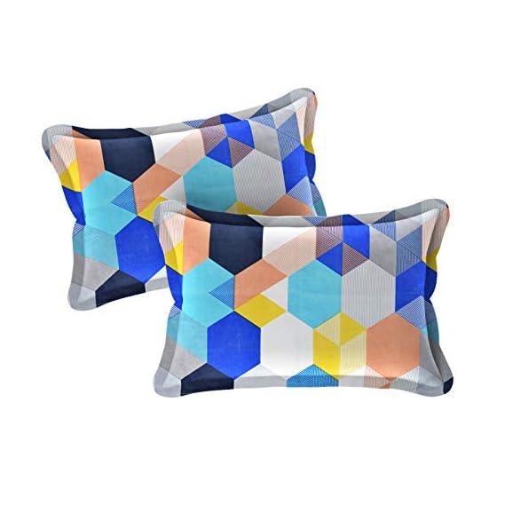 Amrange Designer Printed 2 Piece Cotton Pillow Cover Set - 17 x 27, Multicolour