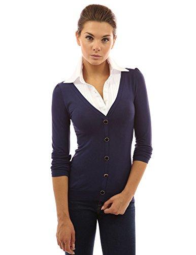 PattyBoutik zweilagige Damenkombi Pulli und Hemd (dunkelblau 36/S)