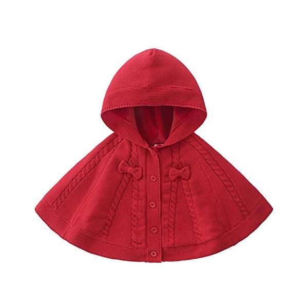 TININNA Abrigos Bebé Niñas Otoño Invierno Abrigo de Cape Chaqueta Abrigo de Punto Capa Poncho con Capucha Abrigo con… 1