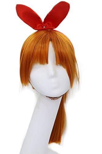 Erwachsene Powerpuff Kostüme Girls (Blossom Perücke Wig Anime Cosplay Kostüm Costume Orange Lange Gerades Haar Zubehör Hair)