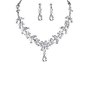 TreasureBay, favoloso set di gioielli da sposa con diamanti sintetici, collana e orecchini con cristalli trasparenti, perfetti per una sposa, per un ballo, una festa, una serata fuori