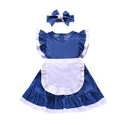 Sommer Kleinkind Mädchen Fliegenhülle Solide Spleißen Kleid und Stirnband ()