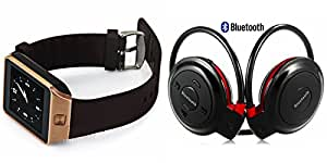 GENERIC Smart Watch & Bluetooth Headset compatible with SONY xperia e(Bluetooth Mini 503 Headset & Bluetooth DZ09 Smart Watch Wrist Watch Phone with Camera & SIM Card Support Hot Fashion New Arrival Best Selling Premium Quality Lowest Price with Apps like Facebook, Whatsapp, Twitter, Sports, Health, Pedometer, Sedentary Remind & Sleep Monitoring, Better Display, Loud Speaker, Touch Screen, Multi-Language, Compatible with Android iOS Mobile Tablet-Assorted Color)