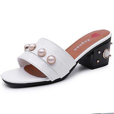 Nero zhENfu estate PU Donna White perla 4in Bianco esterna Sandali 3 basso di tacco 1A Comfort passeggiate 1 dYY7xrtq
