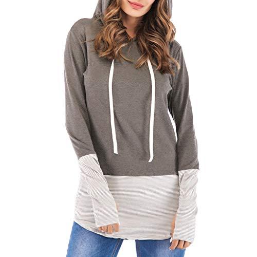 GOKOMO Frauen Langarm V-Ausschnitt Patchwork Pullover T-Shirt Bluse Tops Frauen Langarm V-Ausschnitt Panel Hooded Thumb Hooded Top(Grau-A,XX-Large)