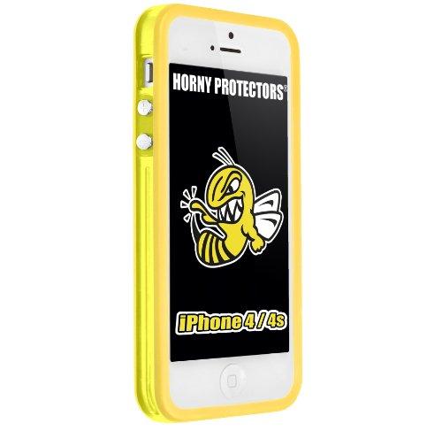 Horny Protectors Bumper für Apple iPhone 4/4S transparent/grün mit Metallbutton gelb/transparent