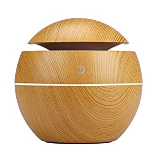 APRITECH® Essential Oil Diffuser Wood Grain Ultrasonic Aroma Diffuser air Humidifier Aromatherapy Diffuser with 6 Color Light Touch Switch (A)