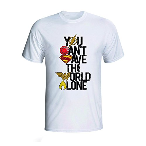 PandaMate Store Justice League - You Can't Save The World Alone - Colour Logo - White T-Shirt (L)