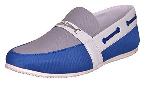 usure loafer partie de chaussures pour hommes glissent sur la conduite pantoufle casual chaussures en toile Gris et bleu
