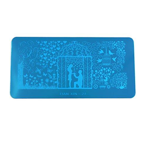 sourcing map Acier inoxydable Nail Art Stamping Plate Design Image Stamp Modèle Clous Décor