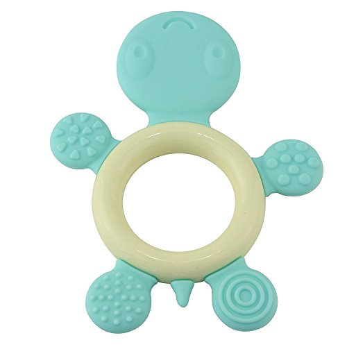 Biubee Baby Ring Teether - Food Grade Silicone Infant Teething Toy Blue Tortoise