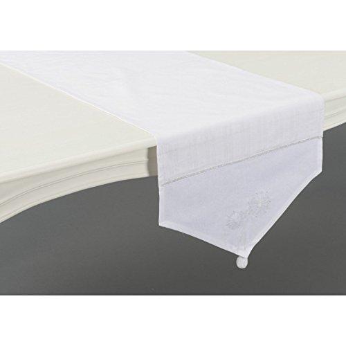 Amadeus - Chemin de table blanc chic fleur de neige Amadeus